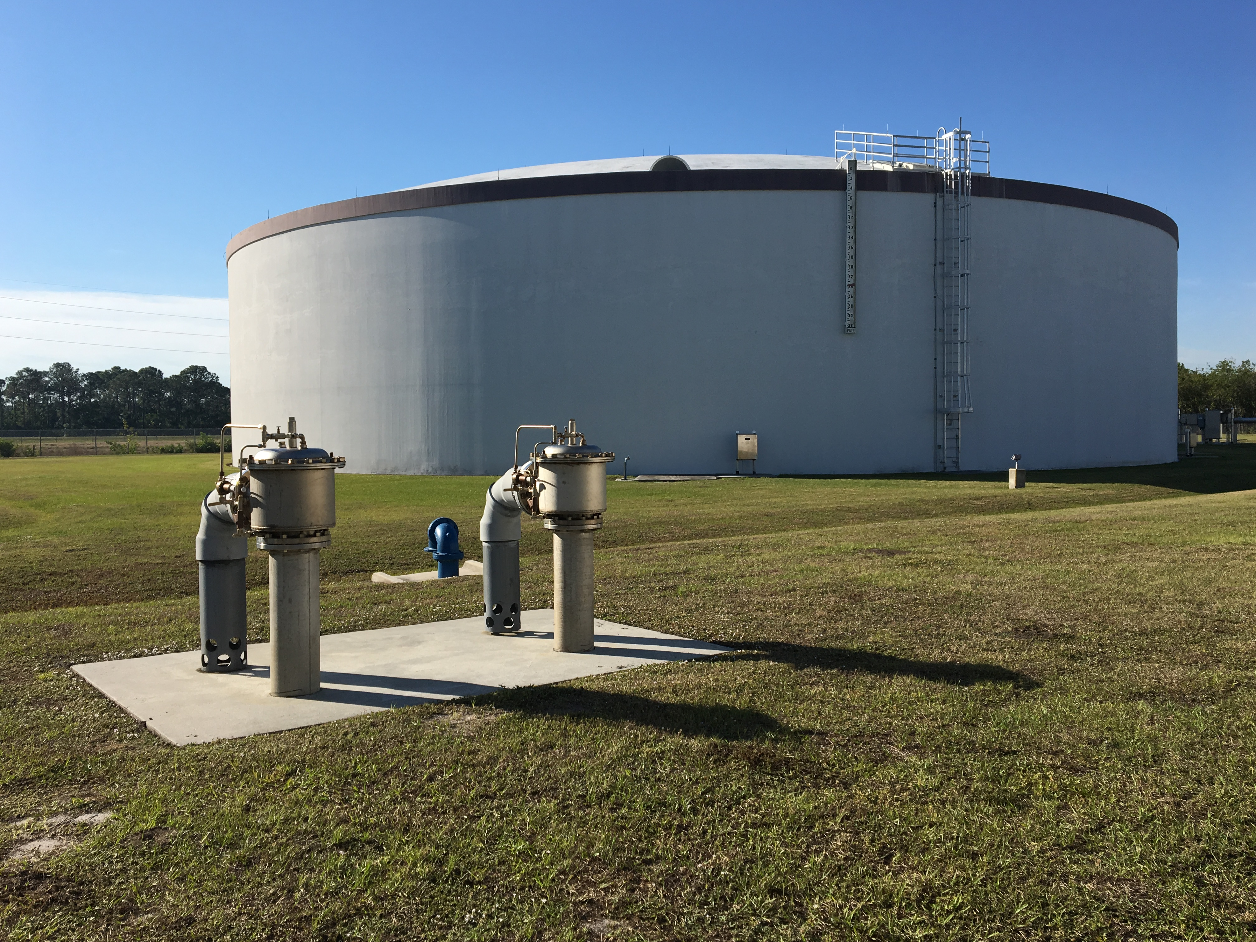 Exterior of 4-million gallon water storage tank at James E. Anderson Water Treatment Facility