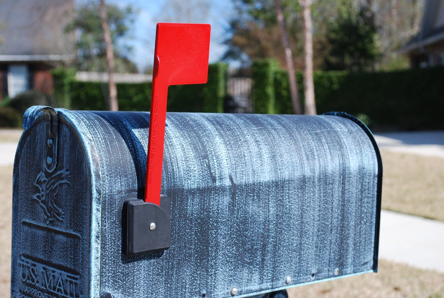 Residential mailbox with flag up