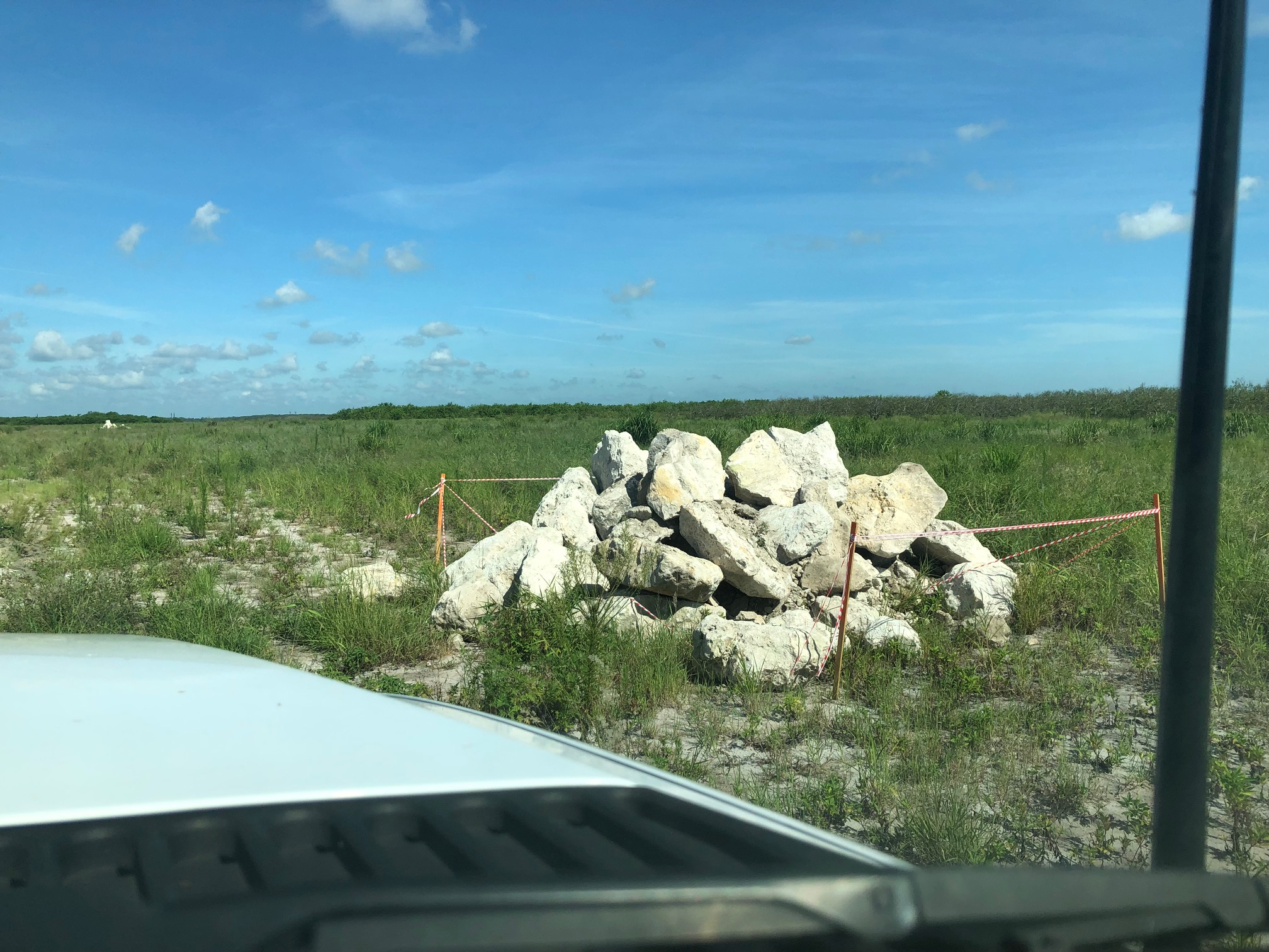 Large pile of rocks formed to create indigo snake habitat