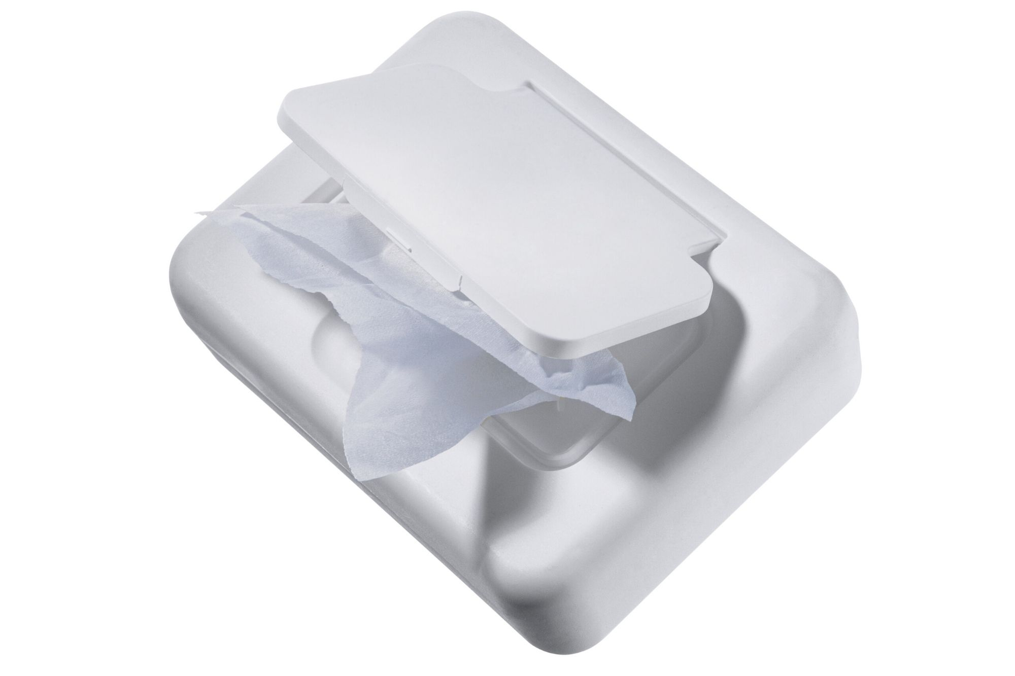 White container of wipes